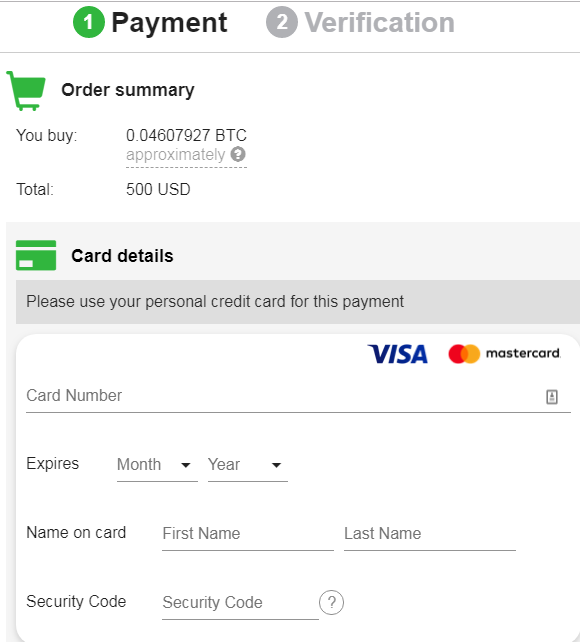 Buy BTC with credit card