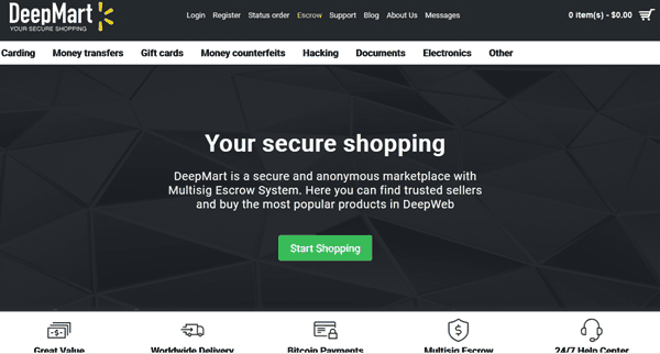 DeepMart Darknet Store Review - Description With Features